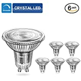 COOWOO MR16 GU10 LED Dimmable Warm White Bulbs, GU10 Base 50W Equivalent Halogen Replacement 3000K Warm White 5W AC 220-240V Spotlight with 450 Lumen, 40°Beam Angle, Pack of 6 U