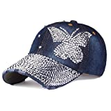 Women Bling Butterfly Baseball Cap Hip Hop Denim Snap Back Hats, 01