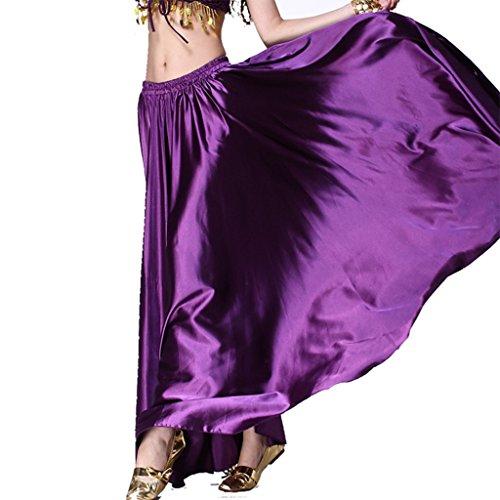 MUNAFIE Belly Dance Satin Skirt Arabic Halloween shiny Skirt Fancy Full Skirt US0-14 Purple