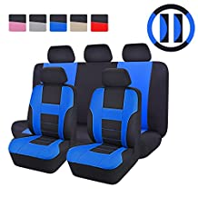 CAR PASS - 14PCS Max Automobile Seat Covers Set Package-Universal fit for Vehicles Blackwith blue With Composite Sponge Inside,Airbag Compatiable (blue)