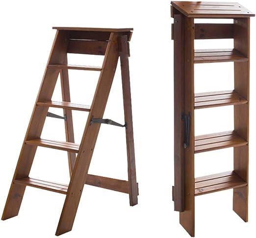Taburete de Escalera Plegable de Madera de 5 Pasos, Escalera multifunción para Subir escaleras, Pliegue Portátil para Cocina/Oficina/Biblioteca Escalera de Tijera Nogal Claro: Amazon.es: Hogar