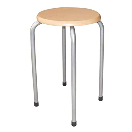 Swell 2 X Stacking Stools Wooden Silver Legs Amazon Co Uk Theyellowbook Wood Chair Design Ideas Theyellowbookinfo