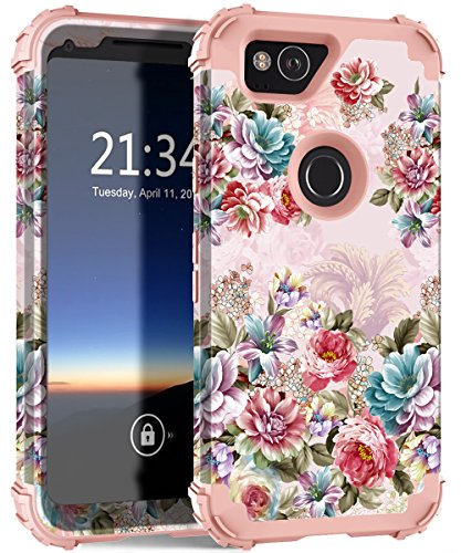 Google Pixel 2 Case, Hocase Shockproof Heavy Duty Hybrid Silicone Rubber+Hard Shell Full Body Protective Cell Phone Case w/Cute Peony Floral Print for Google Pixel 2 (5-inch) - Flowers/Rose Gold