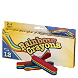 12-Pack Multi-Color Rainbow Crayon Set - Non Toxic - Safe for Toddlers, Kids and Children - 7 Bright Colorful Fun Colors - Perfect Party Favor - Ideal for Home and School Use