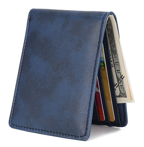Mens Slim Front Pocket Wallet ID Window Card Case with RFID Blocking - Blue