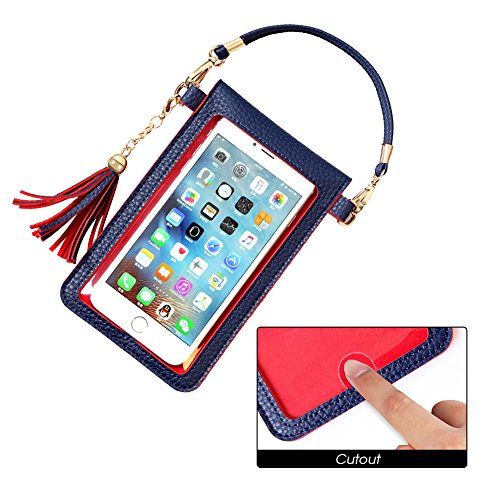 LKZAIY PU Leather Crossbody Bag Mini Phone Pouch with Shoulder Strap for iPhone 8,8 Plus,8 X, 7 Plus, 6S Plus, 6 Plus, 7, 6S, Samsung Note 8,S8, S7 Edge, S6 Edge+, S6, S5, S4, J3, J7