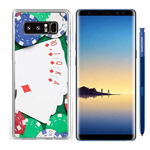 Luxlady Samsung Galaxy Note8 Clear case Soft TPU Rubber Silicone IMAGE ID: 24878434 royal flush combination and poker chips on the green casino table