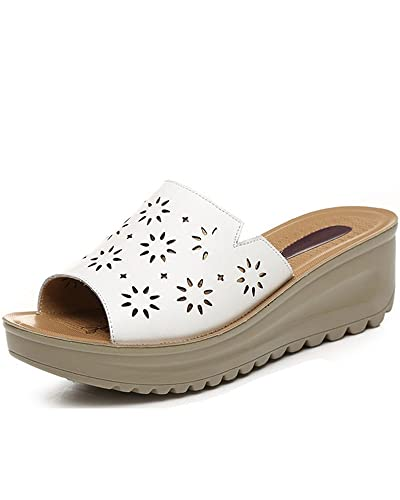 b5b60bcad9306 Women s Real Leather Casual Comfortable Wedged Slides Sandals Ladies Summer  Shoes (US 8