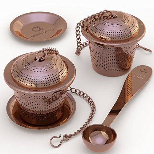 (Apace Loose Leaf Tea Infuser (Set of 2) with Tea Scoop and Drip Tray - Ultra Fine Stainless Steel Strainer &)