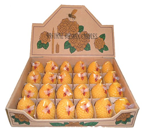 Green Pastures Wholesale Small Beehive Beeswax Yellow Candles, Set of 24 ()