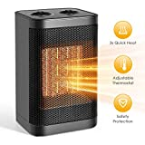 Ceramic Space Heater, Portable Heater Electric Heater Fan with Overheat Protection for Desk Office Home Bedroom