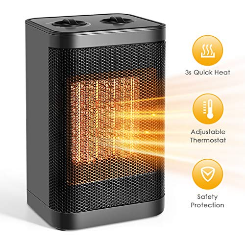Cheap Portable Ceramic Space Heater 1500W Electric Heater Fast Heating Fan with Auto Shut Off Portable with Adjustable Thermostat for Home/Office/Bedroom Personal Desk Heater Black Friday & Cyber Monday 2019