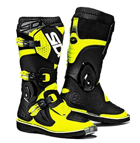 Sidi Youth Kids Flame MX Boots (42/8.5, Flo Yellow/Black)