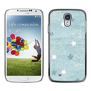 FECELL CITY // Duro Aluminio Pegatina PC Caso decorativo Funda Carcasa de Protección para Samsung Galaxy S4 I9500 // Baby Blue Cute Wallpaper Pattern