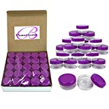 Health Beauty Supplies Best Deals - Beauticom® 5G/5ML High Quality Clear Round Jars with Purple Lids for Pills, Medication, Ointments and Other Beauty and Health Aids - BPA Free (Quantity: 50 Pieces)