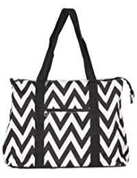 Ever Moda Chevron Print Extra Large Tote Bag with Coin Purse, Black and White