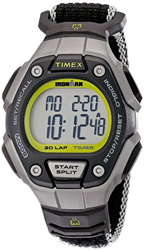 Timex Women's Ironman 30-Lap Digital Quartz Mid-Size Watch, Black/Silver-Tone/Lime - TW5K89800