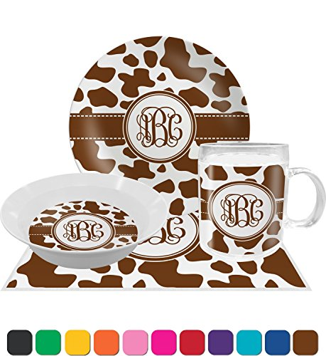 Cow Print Dinner Set - 4 Pc (Personalized) (Dinner Print)