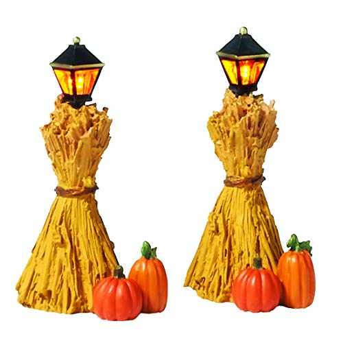 Dept 56 Halloween Village Accessories (Department 56 Halloween Accessories for Village Collections Harvest Corn Stalk Lantern Lit Figurine Set, 2.25 Inch,)