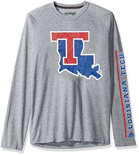 adidas NCAA Louisiana Tech Bulldogs Adult Men Sleeve Play Ultimate L/S Tee, Large, Medium Grey Heather