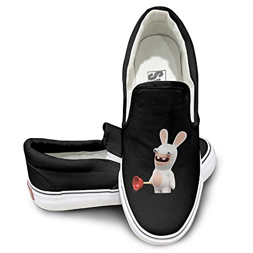 EWIED Unisex Classic Cartoon Crazy Rabbit Slip-On Shoes Black Size44 (Crazy Chicken Costume compare prices)