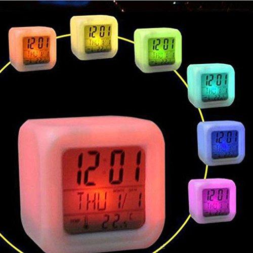 melupa Alarm Clock for Kids, 7 Color Changing Bedside Clock for Boys Girls, Children