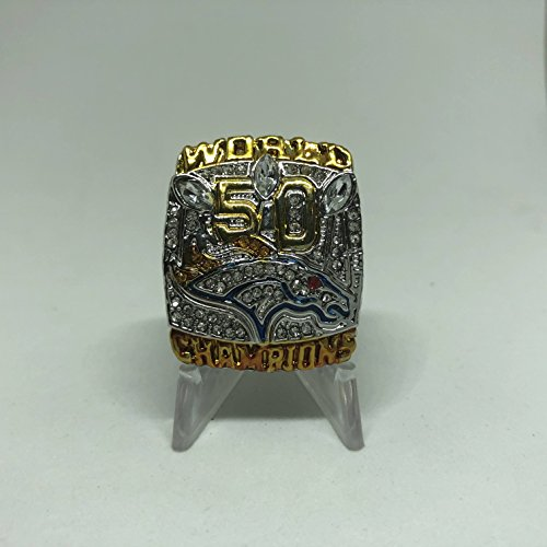 Peyton Manning #18 Denver Broncos High Quality Replica Super Bowl 50 L Ring Size 9 Silver Broncos