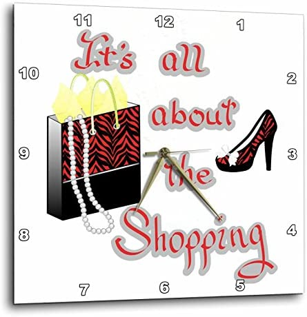 3dRose DPP_185048_1 Red Zebra Print Bag and High Heels Its All About The Shopping Wall Clock, 10 x 10