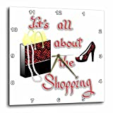 Cheap 3dRose dpp_185048_1 Red Zebra Print Bag and High Heels Its All About The Shopping Wall Clock, 10 x 10