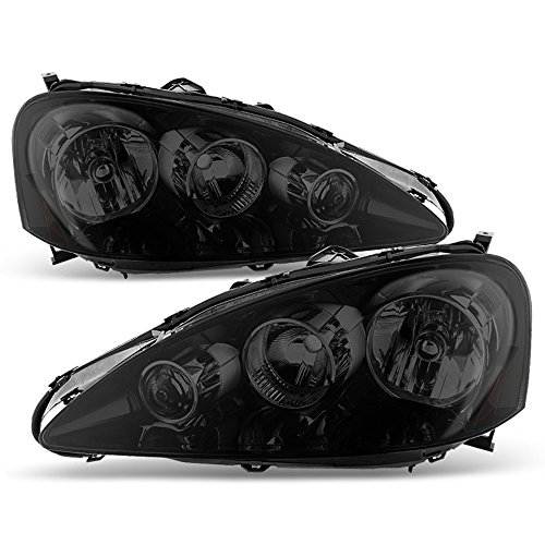 (ACANII - For 2005-2006 Acura RSX Black Smoked Headlights Headlamps Head Lights Lamps Driver + Passenger Side Replacement)