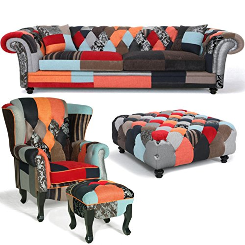 Modern 2 Seater Patchwork Chesterfield Sofa Amazon Co Uk Kitchen