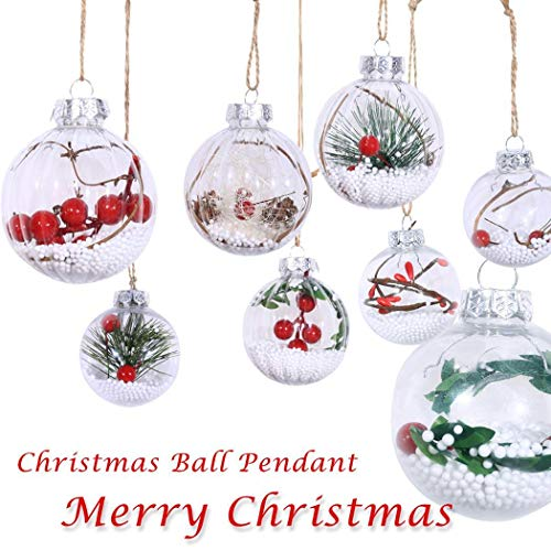 Alisena Christmas Ball Ornaments Shatterproof Clear Plastic Xmas Balls Baubles Filled with Artificial Snow Berry Rattan for Winter Xmas Tree Decorations(Round
