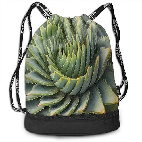 Drawstring Backpack bags, Botanic Spikey Wild Nature Inspired Western Dessert Plant Flower Artwork - Inspired Desserts Asian