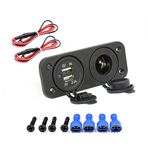 EZYKOO-12V-Outlet-Socket-Panel-Jack-Marine-21A1A-Dual-USB-Car-Charger-Cigarette-Lighter-for-Apple-Android-Tablet-Digital-Devices-Fits-Car-Truck-Motorbike-RV-ATV-Boat
