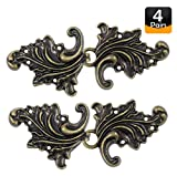 Bezelry Asymmetric Acanthus Leaf Cape or Cloak Clasp Fasteners . Pack of 4 Pairs . 66mm x 28mm Fastened. Sew On Hooks and Eyes Cardigan Clip (Antique Brass)