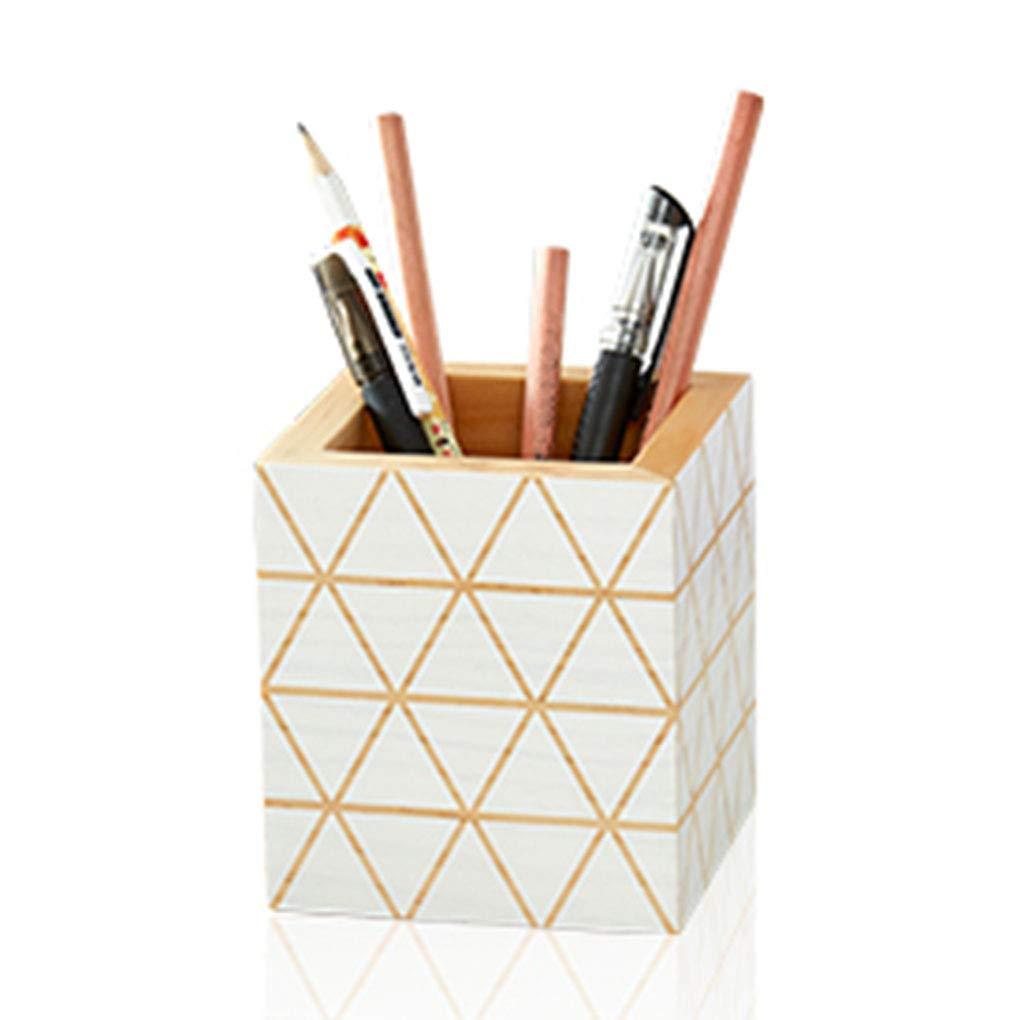 Soporte para bolígrafo de Madera sólida Creativa, Creativa, Creativa, Moda geométrica, Almacenamiento de papelería de Escritorio de Oficina, Inserto de Pluma, decoración de Estudio (Color : Beige) 38fb63