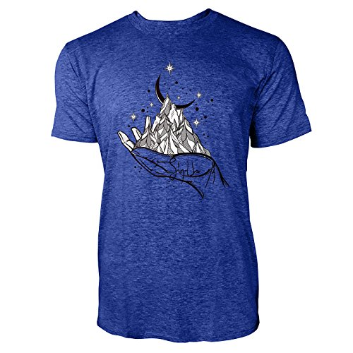 SINUS ART ® Gebirge mit Halbmond auf Hand Herren T-Shirts in Vintage Blau Cooles Fun Shirt mit tollen Aufdruck
