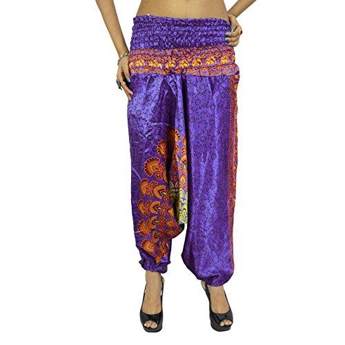 Harem Yoga Aladdin bragas ocasionales de los pantalones holgados del Hippie Pantalones Mujeres indias Violet-1