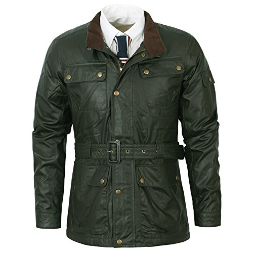 Waxed Military Jacket - ililily Men Down Like Padded Faux Leather Waxed Motorcycle Winter Jacket, Military Green, US-M