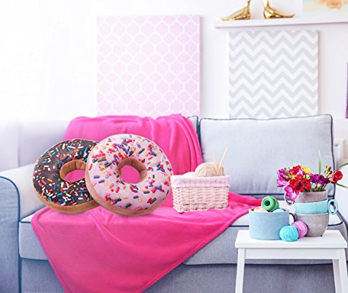 Pink Donut Throw Pillow Plush 6
