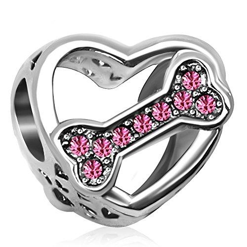 JMQJewelry Love Dog Charms Heart Dog Bone Pink Birthstone Animal Charms Beads Bracelets Mom