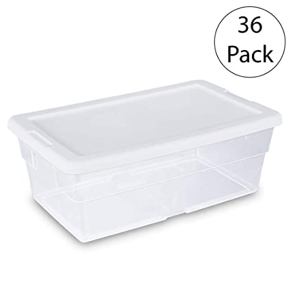 Sterilite 16428012 6 Quart/5.7 Liter Storage Box, White Lid With Clear Base,