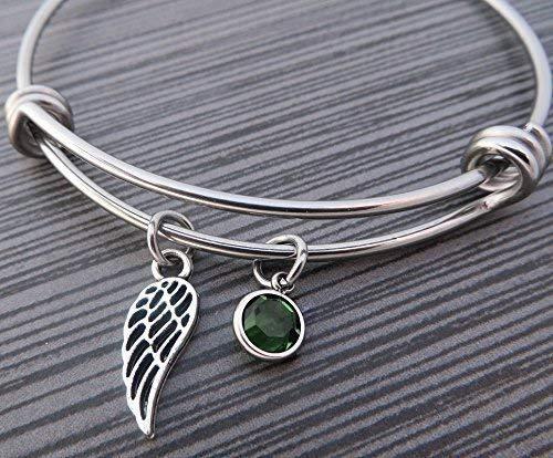 Crystal Memory Wire Bracelet - Angel Wing Charm Bracelet/Birthstone Bracelet/Wire Bangle/Mom Bracelet/Grandma Bangle/Swarovski Crystal Charm Adjustable Bangle/Memorial Bracelet