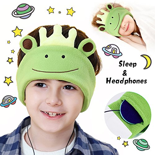 (AMENON Kids Cat Ear Headphones Bluetooth Boys Girls Wireless USB Rechargeable Volume Control On Over Ear Game Led Headset Phone Tablet Pad School Birthday Christmas (005The Frog)