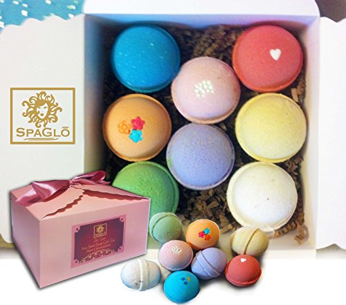 Bath Bomb Gift Set - Beautiful Upscale Box and Bow, Ready To Give for Mother's Day - 8 USA Made with Natural and Organic Ingredients (Upscale Box)