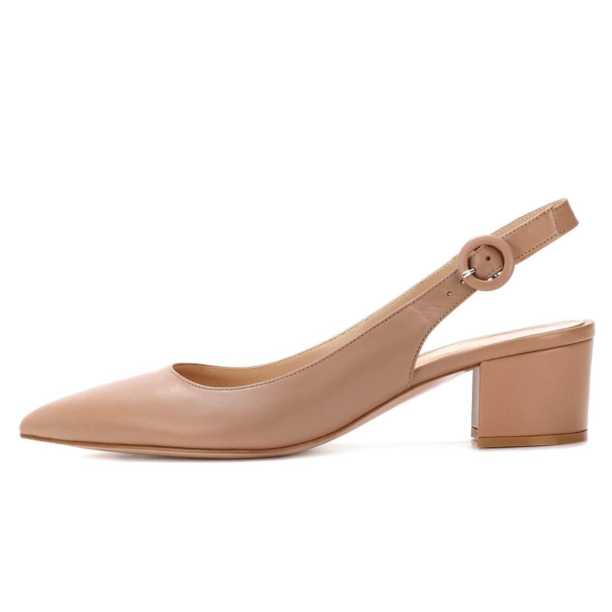 XYD Women Low Block Heel Pumps Pointed Toe Buckle Sandals Slingback Slip On Office Ladies Dress Shoes