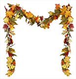 NorthLight 9 in. Autumn Blessings Maple Leaf Berry And Acorn Artificial Thanksgiving Garland