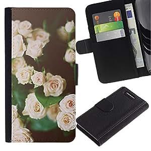 Billetera de Cuero Caso del tirón Titular de la tarjeta Carcasa Funda del zurriago para Sony Xperia Z1 Compact D5503 / Business Style roses vignette black green pink spring