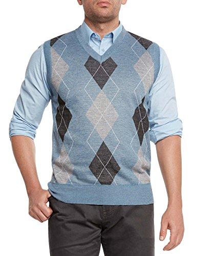 Argyle V-neck Sweater Vest - True Rock Men's Argyle V-Neck Sweater Vest-Light Blue/Blk/Gray-Large