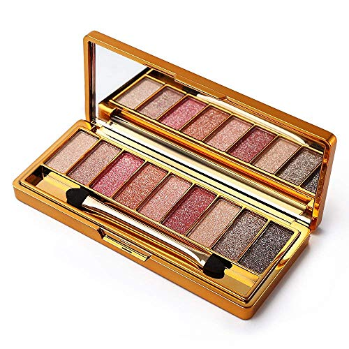 9 Colors Diamond Bright Colorful Eye Shadow Palette Glitter Eyeshadow Palette with Mirror (# 8)